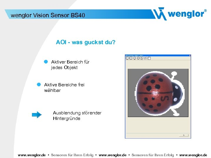 wenglor Vision Sensor BS 40 AOI - was guckst du? Aktiver Bereich für jedes