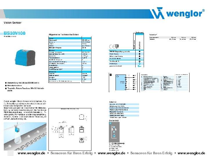 wenglor Vision Sensor BS 40 www. wenglor. de • Sensoren für Ihren Erfolg •