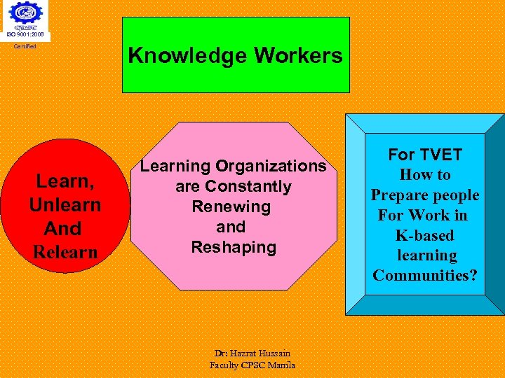 ISO 9001: 2008 Certified Learn, Unlearn And Relearn Knowledge Workers Learning Organizations are Constantly