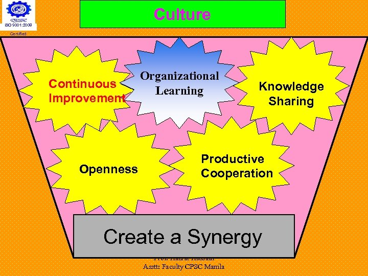 Culture ISO 9001: 2008 Certified Continuous Improvement Openness Organizational Learning Knowledge Sharing Productive Cooperation