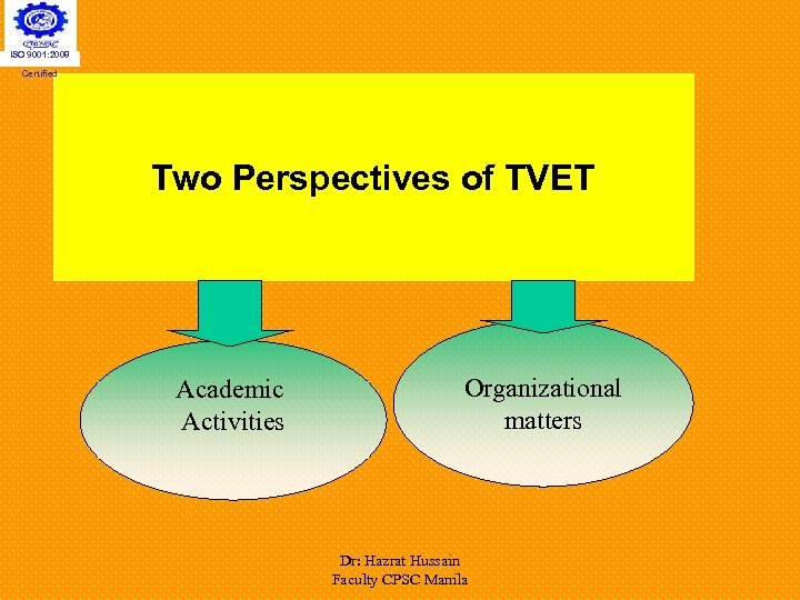 ISO 9001: 2008 Certified Two Perspectives of TVET Academic Activities Organizational matters Dr: Hazrat