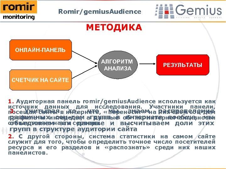 Romir/gemius. Audience МЕТОДИКА ОНЛАЙН-ПАНЕЛЬ АЛГОРИТМ АНАЛИЗА РЕЗУЛЬТАТЫ СЧЕТЧИК НА САЙТЕ 1. Аудиторная панель romir/gemius.