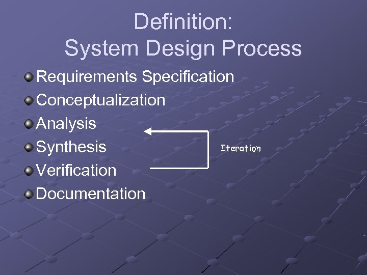 Definition: System Design Process Requirements Specification Conceptualization Analysis Iteration Synthesis Verification Documentation