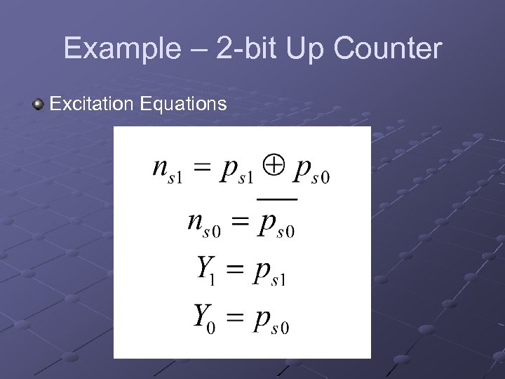 Example – 2 -bit Up Counter Excitation Equations