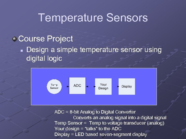 Temperature Sensors Course Project n Design a simple temperature sensor using digital logic ADC