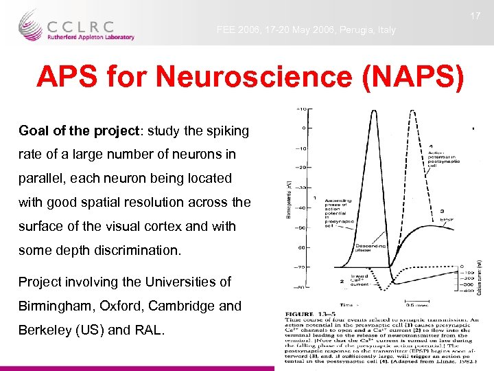 17 FEE 2006, 17 -20 May 2006, Perugia, Italy APS for Neuroscience (NAPS) Goal