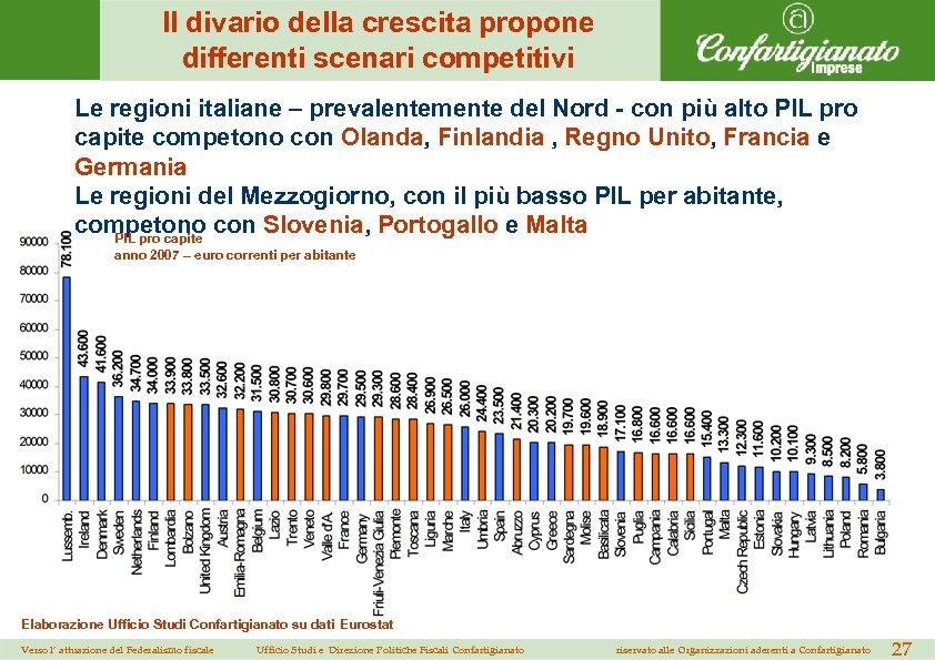 Il divario della crescita propone differenti scenari competitivi Le regioni italiane – prevalentemente del
