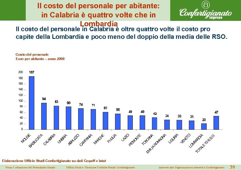 Il costo del personale per abitante: in Calabria è quattro volte che in Lombardia
