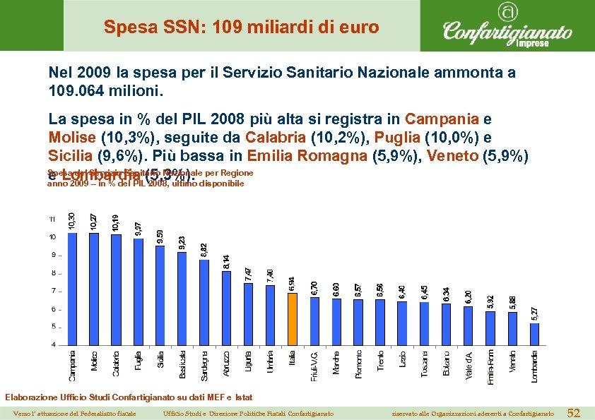 Spesa SSN: 109 miliardi di euro Nel 2009 la spesa per il Servizio Sanitario