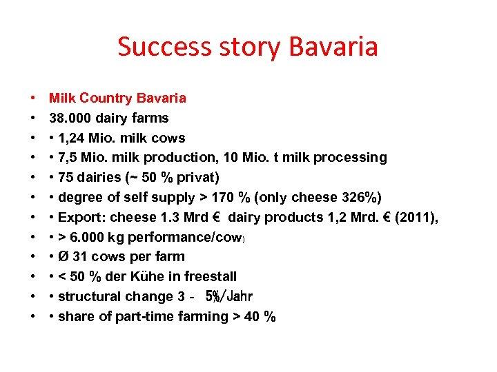 Success story Bavaria • • • Milk Country Bavaria 38. 000 dairy farms •