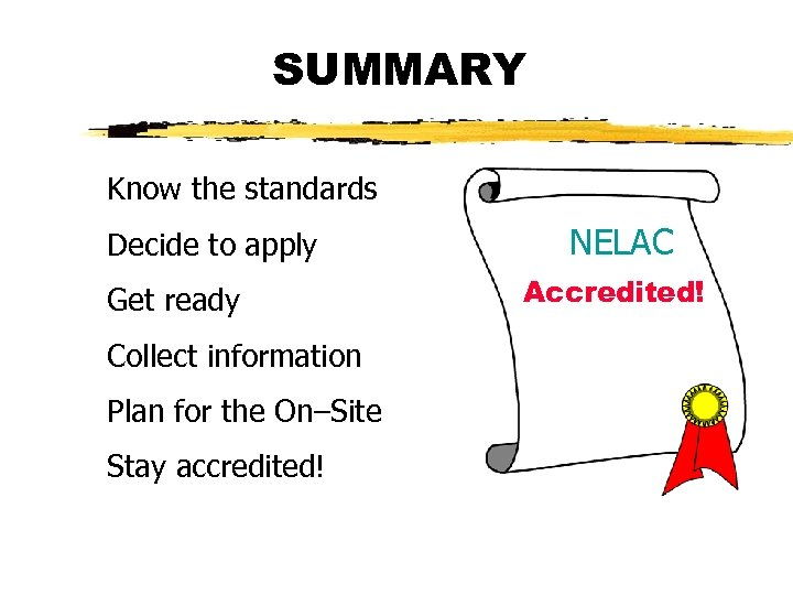 SUMMARY Know the standards Decide to apply Get ready Collect information Plan for the