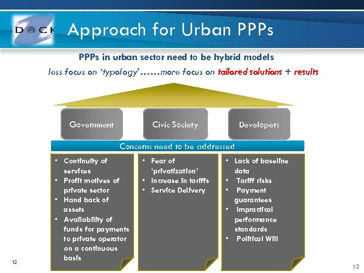 Approach for Urban PPPs in urban sector need to be hybrid models less focus