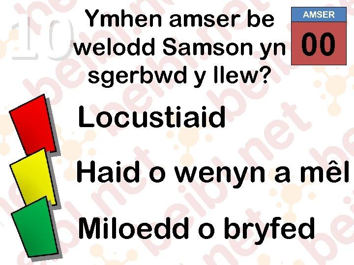 10 Ymhen amser be welodd Samson yn sgerbwd y llew? AMSER 00 01 02