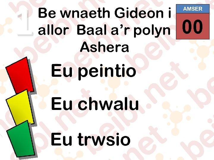 1 Be wnaeth Gideon i allor Baal a'r polyn Ashera Eu peintio Eu chwalu