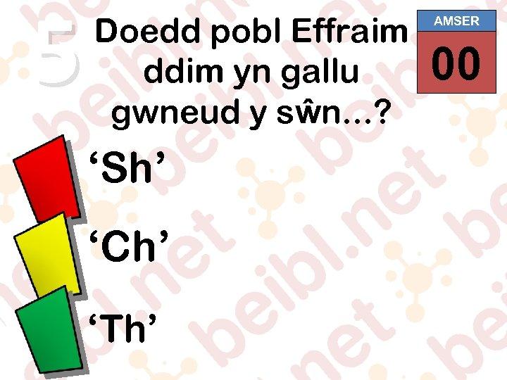5 Doedd pobl Effraim ddim yn gallu gwneud y sŵn. . . ? 'Sh'