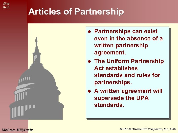 Slide 9 -10 Articles of Partnerships can exist even in the absence of a