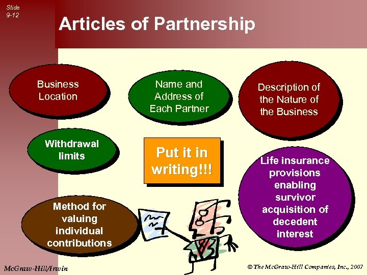 Slide 9 -12 Articles of Partnership Business Location Withdrawal limits Method for valuing individual