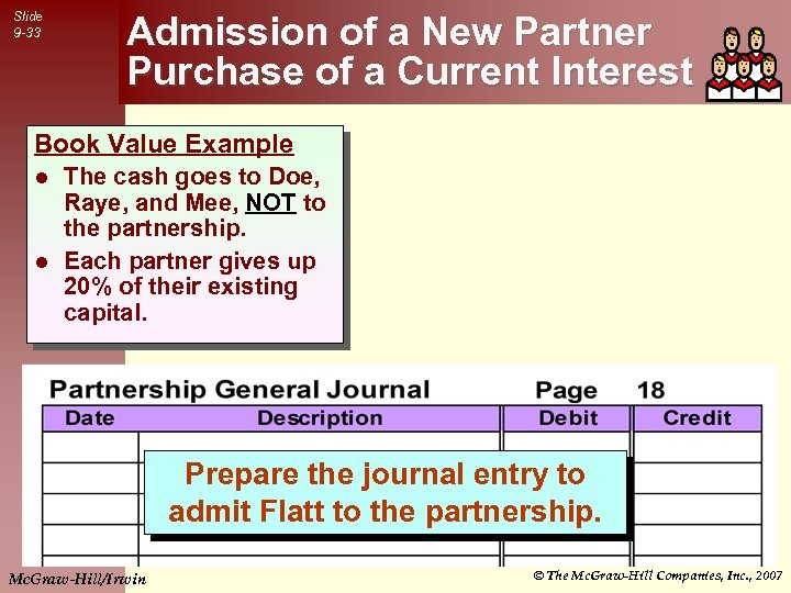 Slide 9 -33 Admission of a New Partner Purchase of a Current Interest Book
