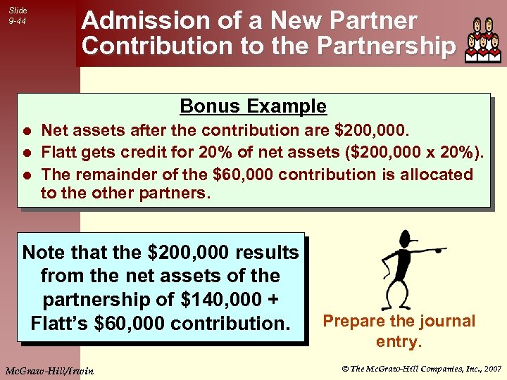 Slide 9 -44 Admission of a New Partner Contribution to the Partnership Bonus Example
