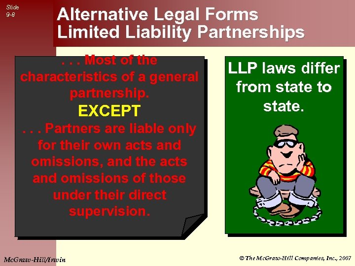 Slide 9 -8 Alternative Legal Forms Limited Liability Partnerships. . . Most of the