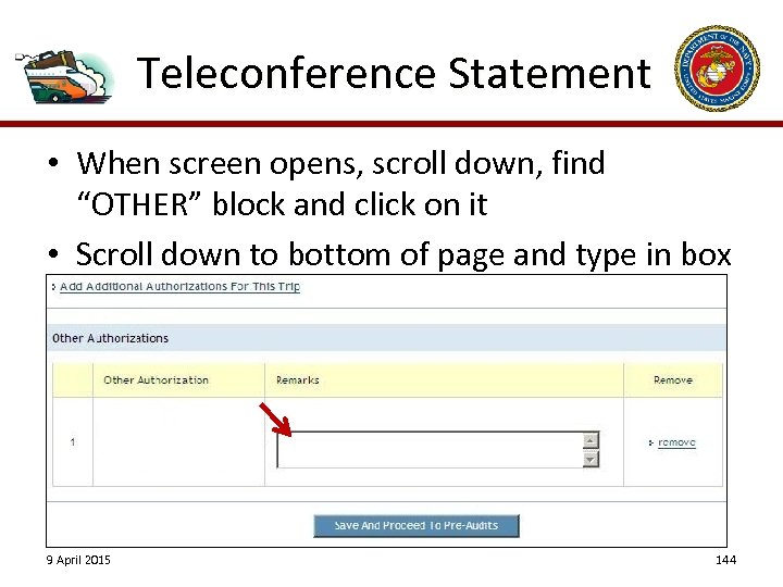 "Teleconference Statement • When screen opens, scroll down, find ""OTHER"" block and click on"