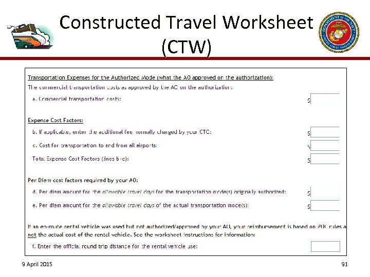 Constructed Travel Worksheet (CTW) 9 April 2015 91