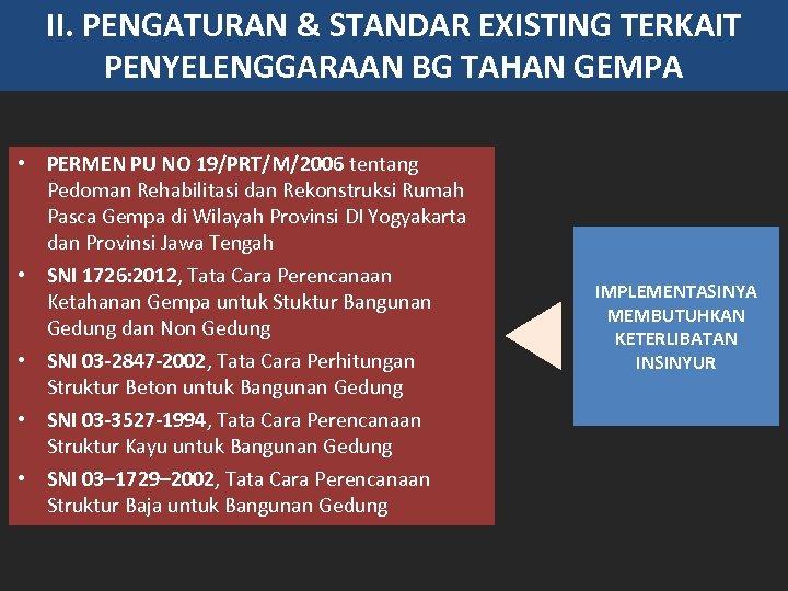 II. PENGATURAN & STANDAR EXISTING TERKAIT PENYELENGGARAAN BG TAHAN GEMPA • PERMEN PU NO