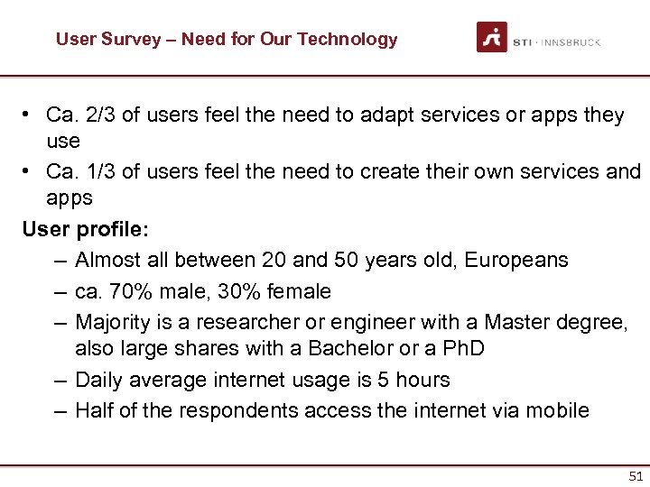 User Survey – Need for Our Technology • Ca. 2/3 of users feel the