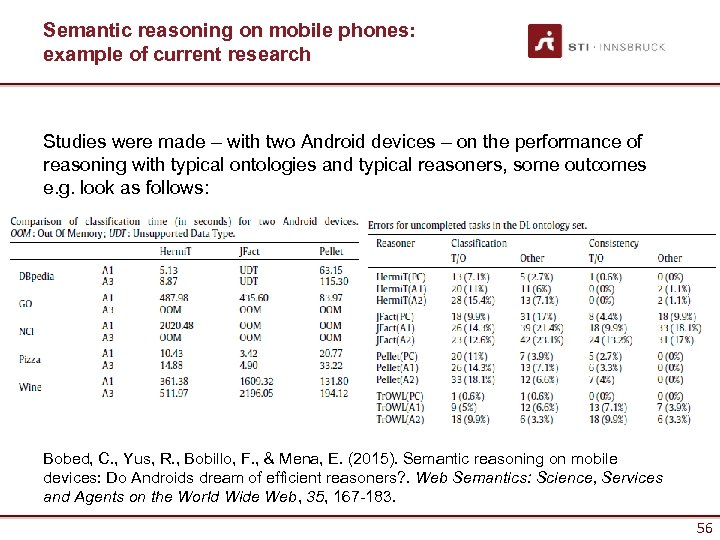 Semantic reasoning on mobile phones: example of current research Studies were made – with