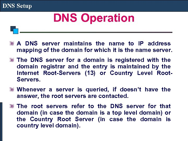 DNS Setup DNS Operation A DNS server maintains the name to IP address mapping