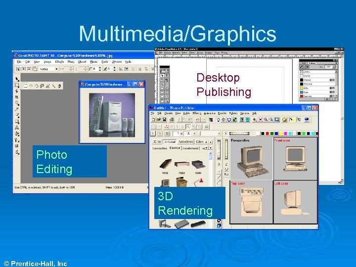 Multimedia/Graphics Desktop Publishing Photo Editing 3 D Rendering © Prentice-Hall, Inc
