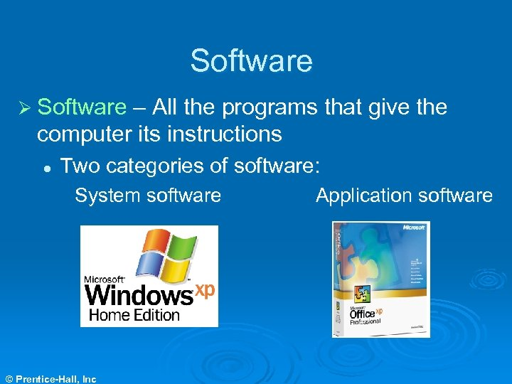 Software Ø Software – All the programs that give the computer its instructions l