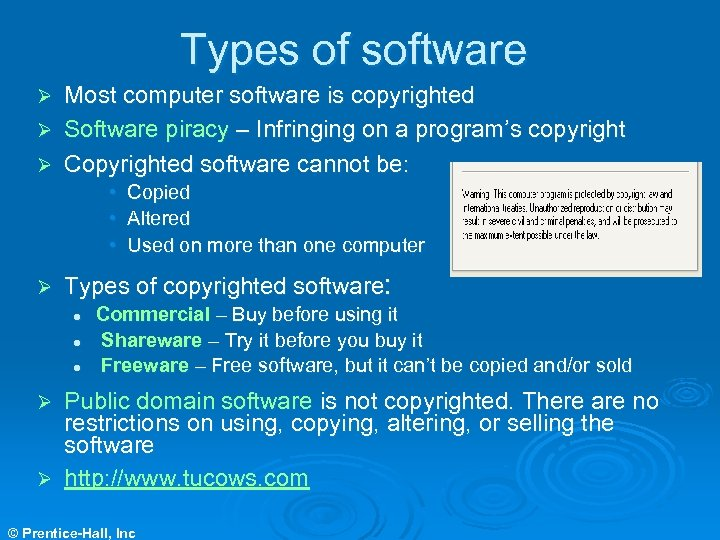 Types of software Most computer software is copyrighted Ø Software piracy – Infringing on