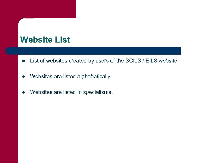 Website List l List of websites created by users of the SCILS / EILS