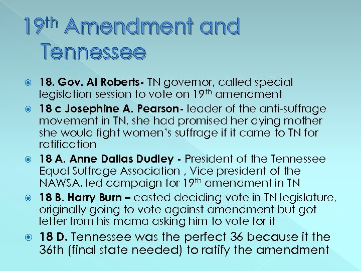 19 th Amendment and Tennessee 18. Gov. Al Roberts- TN governor, called special legislation