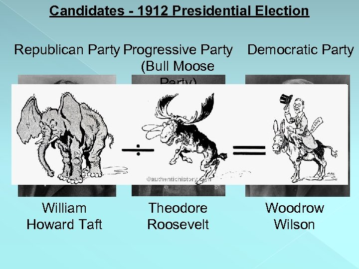Candidates - 1912 Presidential Election Republican Party Progressive Party (Bull Moose Party) + William