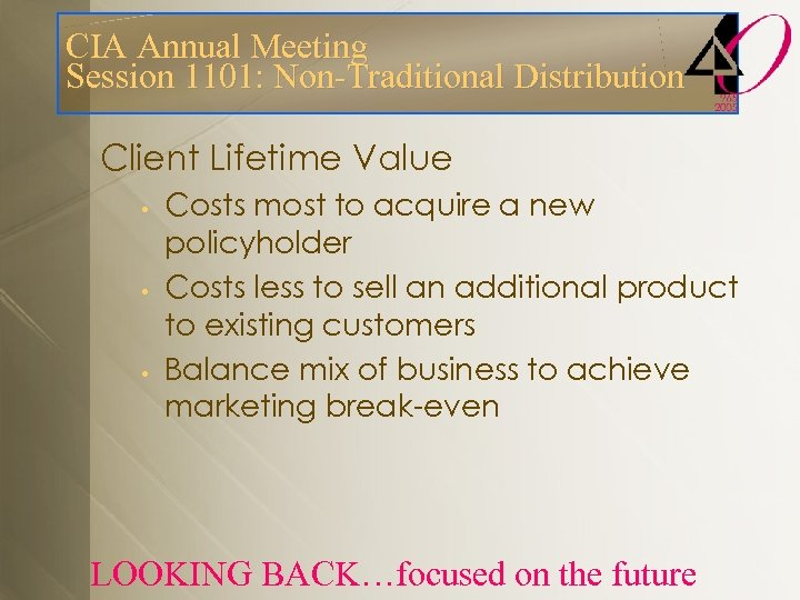 CIA Annual Meeting Session 1101: Non-Traditional Distribution Client Lifetime Value • • • Costs
