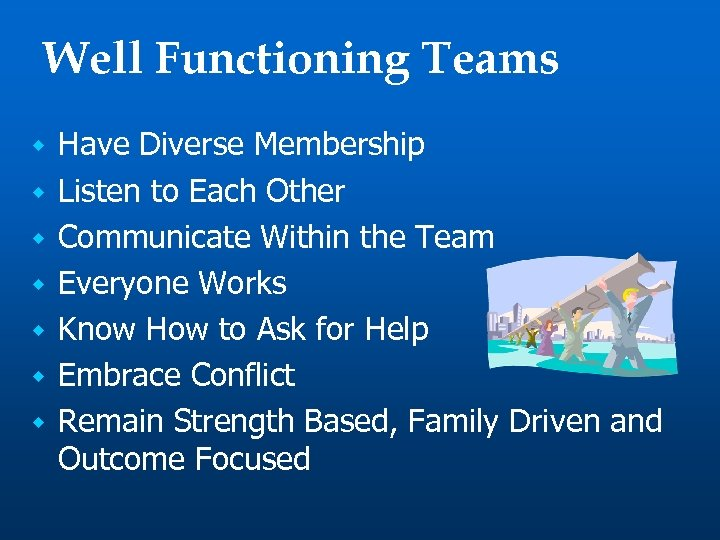Well Functioning Teams w w w w Have Diverse Membership Listen to Each Other