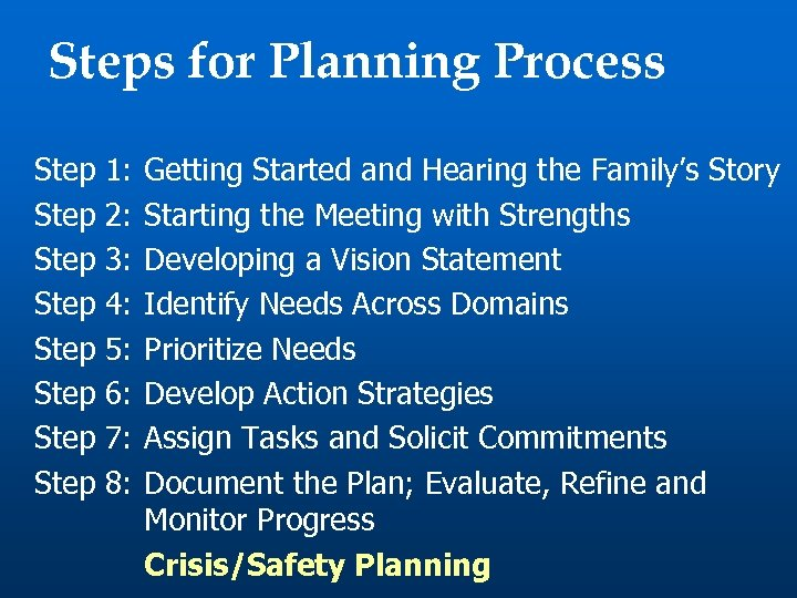 Steps for Planning Process Step Step 1: 2: 3: 4: 5: 6: 7: 8: