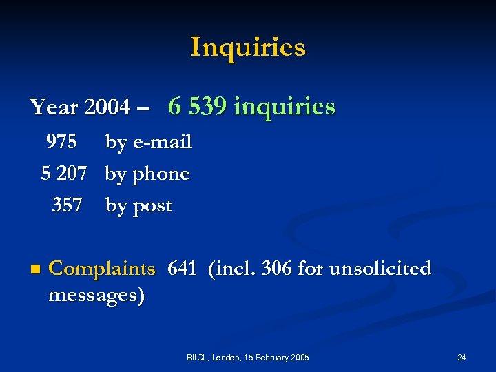 Inquiries Year 2004 – 6 539 inquiries 975 5 207 357 n by e-mail