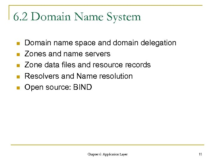 6. 2 Domain Name System n n n Domain name space and domain delegation