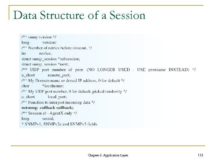 Data Structure of a Session Chapter 6: Application Layer 113