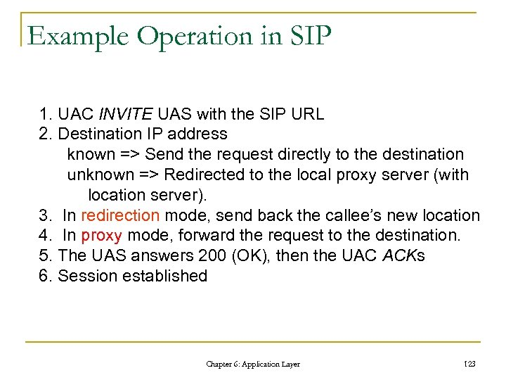 Example Operation in SIP 1. UAC INVITE UAS with the SIP URL 2. Destination
