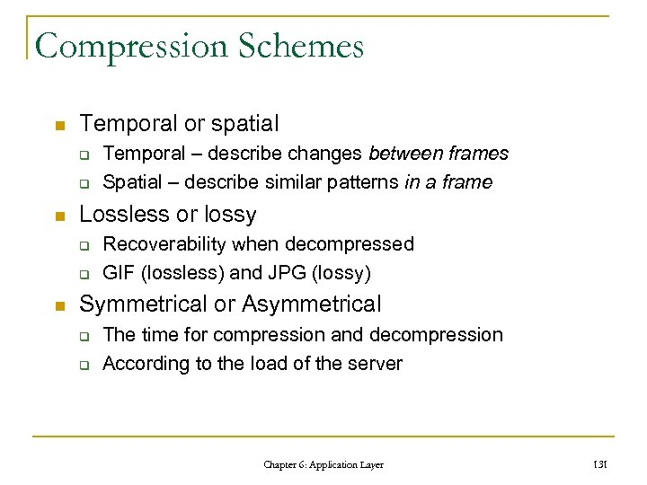 Compression Schemes n Temporal or spatial q q n Lossless or lossy q q