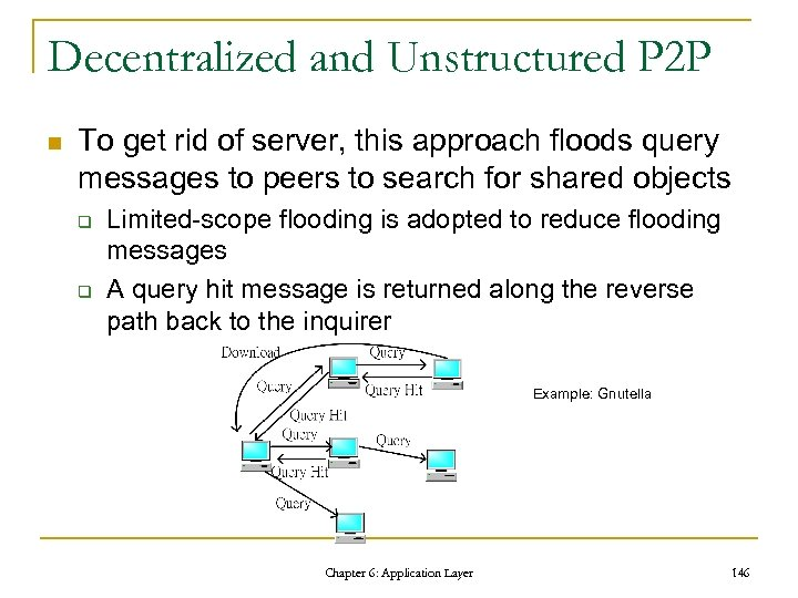 Decentralized and Unstructured P 2 P n To get rid of server, this approach