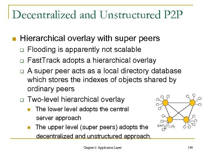 Decentralized and Unstructured P 2 P n Hierarchical overlay with super peers q q