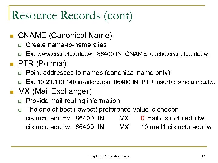 Resource Records (cont) n CNAME (Canonical Name) q q n PTR (Pointer) q q