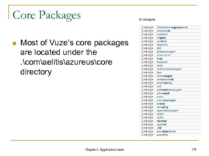 Core Packages n Most of Vuze's core packages are located under the. comaelitisazureuscore directory