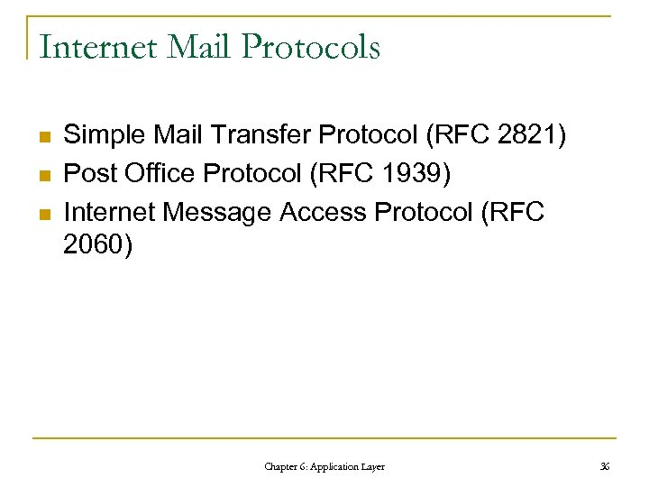 Internet Mail Protocols n n n Simple Mail Transfer Protocol (RFC 2821) Post Office
