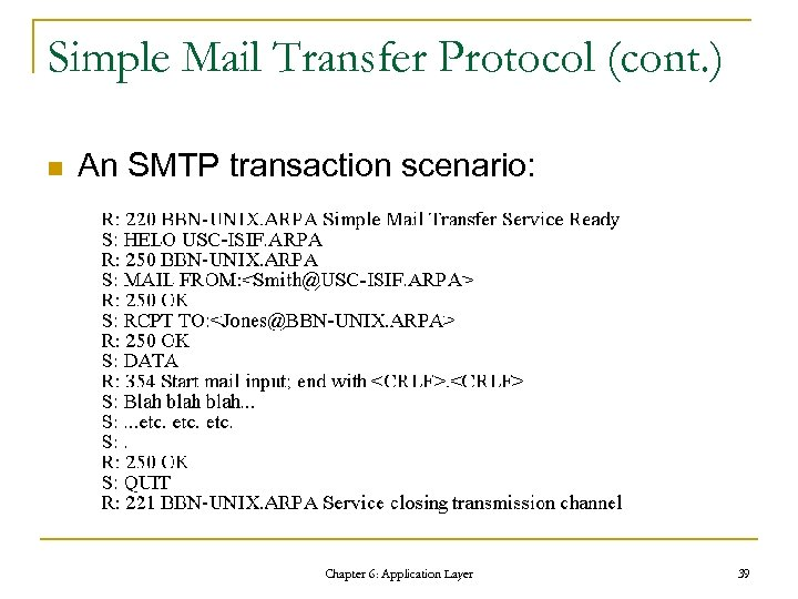 Simple Mail Transfer Protocol (cont. ) n An SMTP transaction scenario: Chapter 6: Application